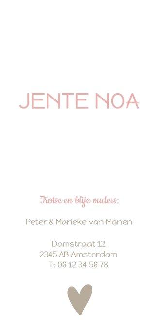 Geboortekaartje hartjesbanner roze Achterkant