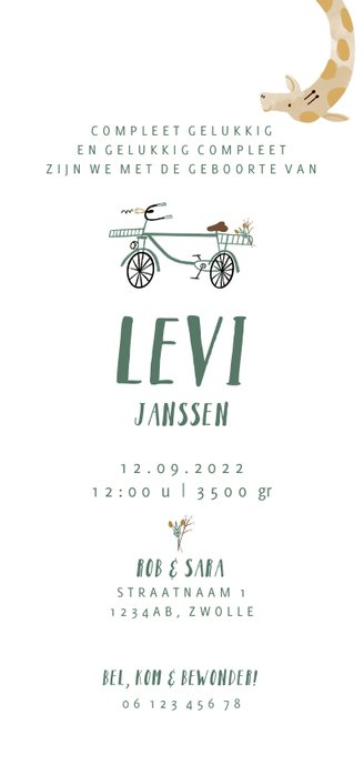 Geboortekaartje hip met giraf op de fiets illustratie Achterkant