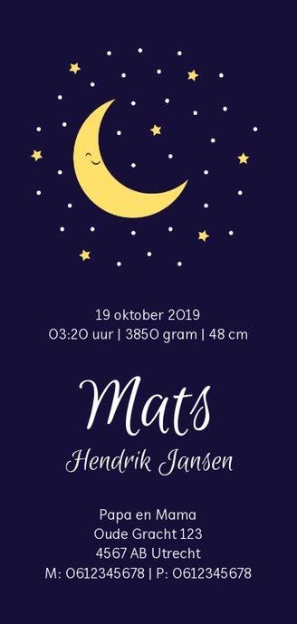 Geboortekaartje in diepblauw met lieve maan en sterren Achterkant