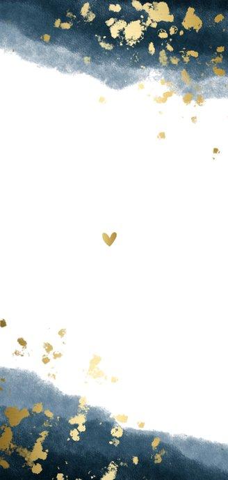 Geboortekaartje jongen gouden spetters waterverf Achterkant