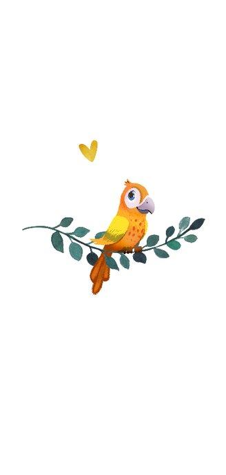 Geboortekaartje jongen met bladeren, veertjes en vogeltje 2