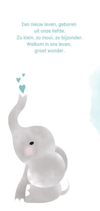 Geboortekaartje jongen met olifantje, waterverf en hartjes 2