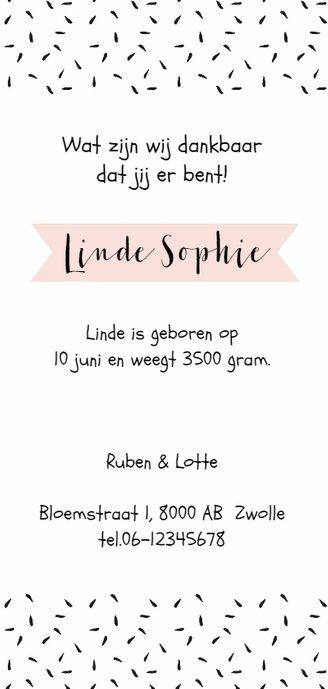 Geboortekaartje lang zwartwit roze label Achterkant