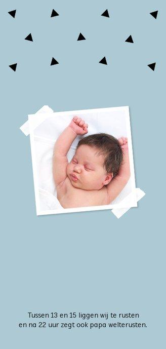 Geboortekaartje langwerpig geometrisch blauw dubbel 2