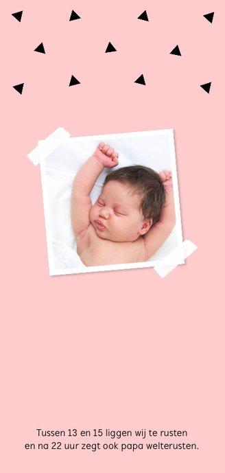 Geboortekaartje langwerpig geometrisch roze dubbel 2