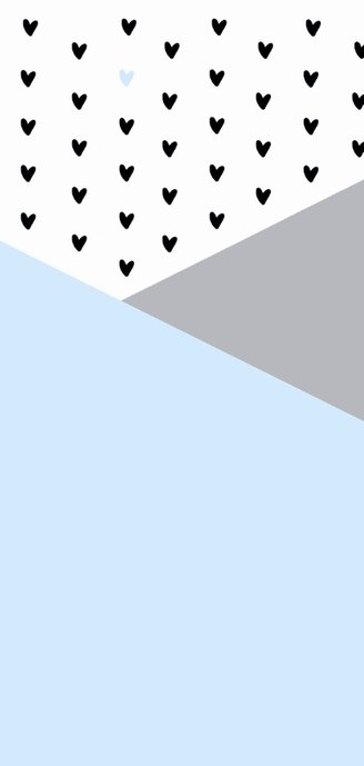 Geboortekaartje langwerpig grafisch hartjes lichtblauw 2