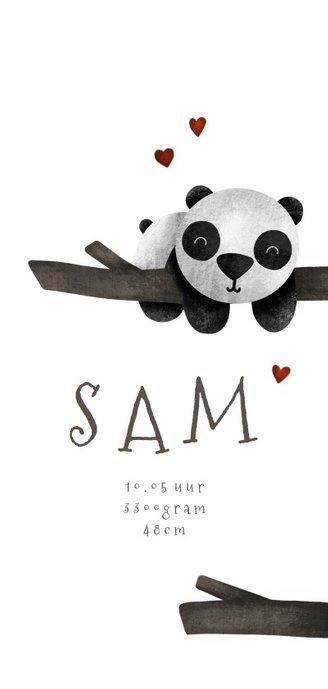 Geboortekaartje langwerpig panda met takjes lief 3