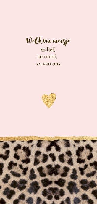Geboortekaartje langwerpig panterprint hartje 2