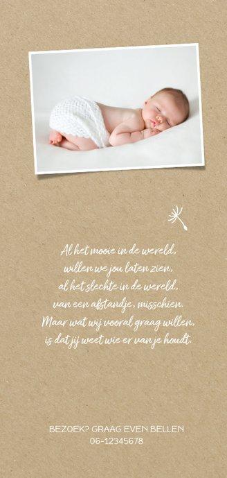 Geboortekaartje langwerpig silhouet meisje met paardebloem 2