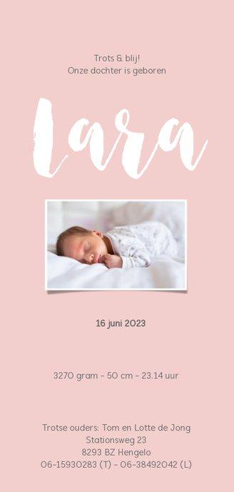 Geboortekaartje_Lara_stippen Achterkant