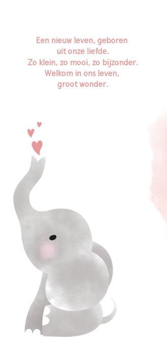 Geboortekaartje meisje met olifantje, waterverf en hartjes 2