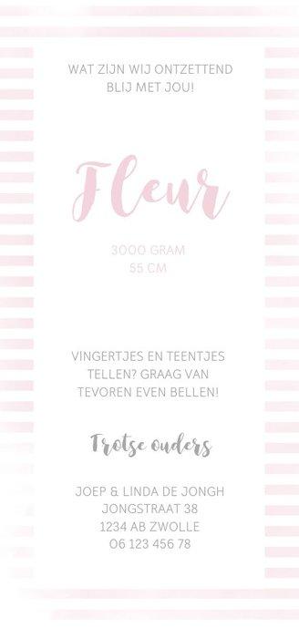 Geboortekaartje meisje met roze strepen Achterkant