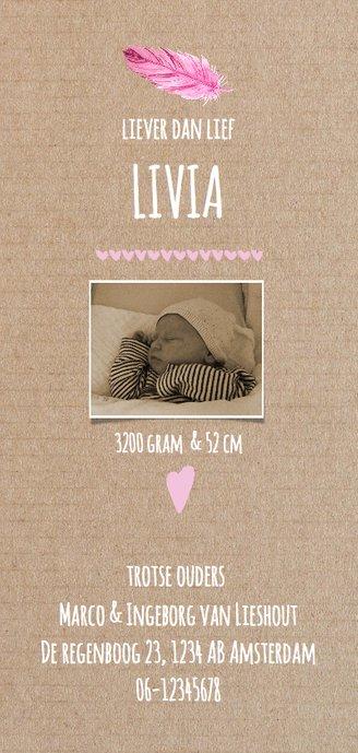 geboortekaartje meisje met veertjes Achterkant