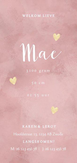 Geboortekaartje meisje roze waterverf en dwarrelende hartjes Achterkant