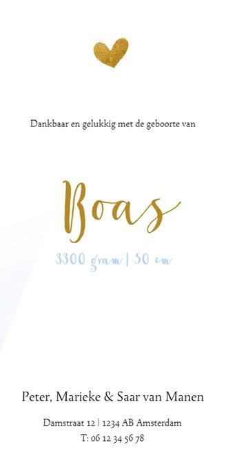 Geboortekaartje met blauwe waterverf en goud hartje 3