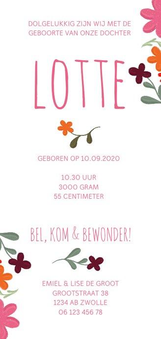 Geboortekaartje met handgeschilderde bloemen langwerpig Achterkant