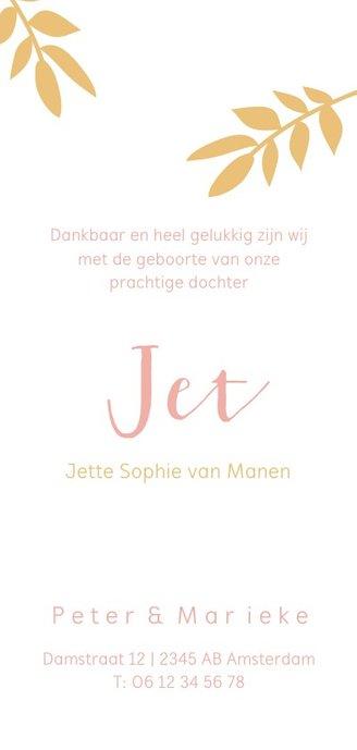 Geboortekaartje met okergele takjes en roze letters Achterkant