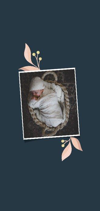 Geboortekaartje met takjes en initiaal langwerpig 2