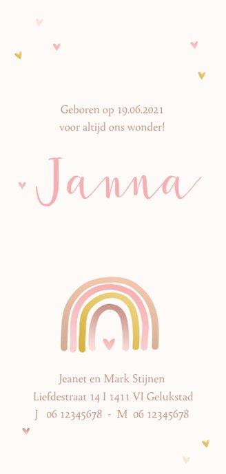 Geboortekaartje regenboog met hartjes Achterkant