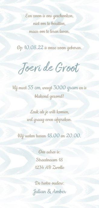Geboortekaartje waterverf met label voor jongen Achterkant