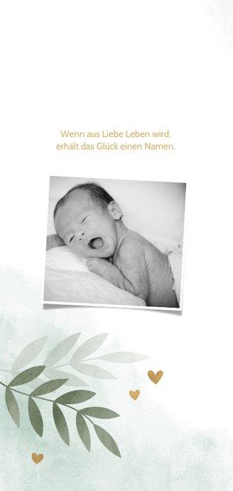 Geburtskarte botanisch & Wasserfarbe grün Foto innen 2