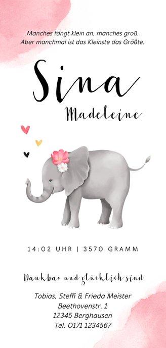 Geburtskarte Elefant mit Blumen Rückseite
