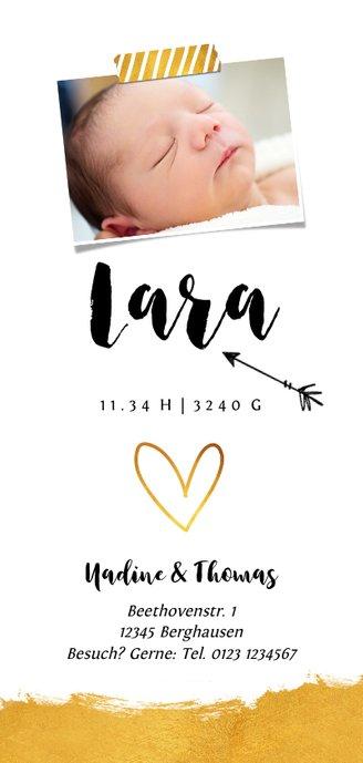 Geburtskarte Herz mit Goldeffekt Foto Rückseite Rückseite