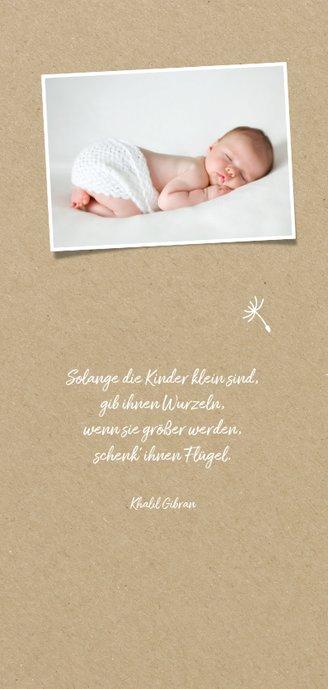 Geburtskarte Junge mit Pusteblume Foto innen 2