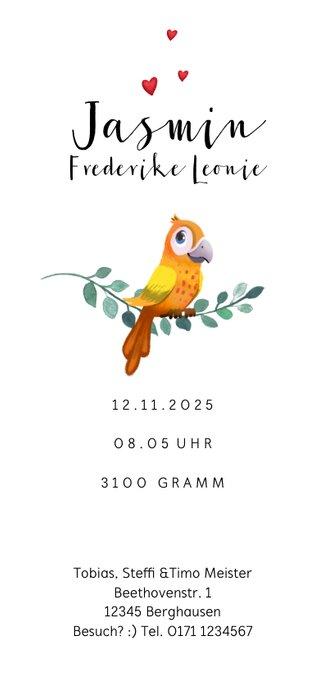 Geburtskarte Papagei Bruder/Schwester Rückseite