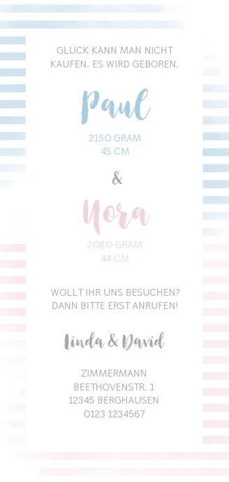 Geburtskarte Zwilling blaue & rosa Streifen Rückseite