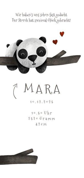 Geburtskarte Zwilling Pandabären 2