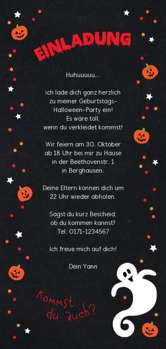 Geburtstageinladung Halloweenparty Rückseite