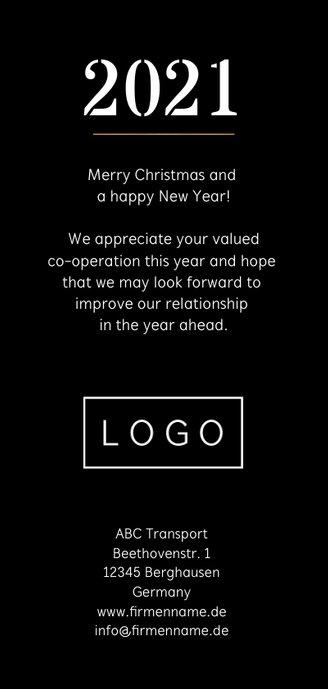 Geschäftliche Neujahrskarte Weltkugel geometrisch Rückseite