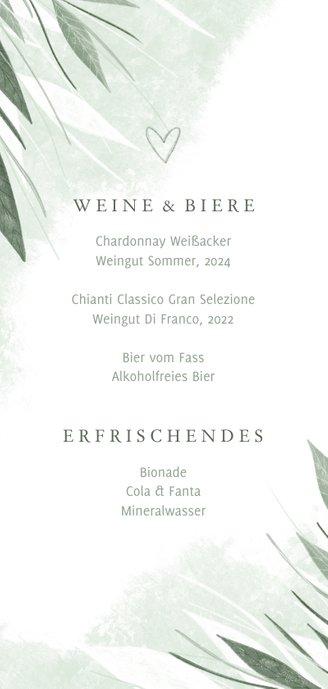 Getränkekarte Hochzeitsfeier zierliche Blätter Rückseite