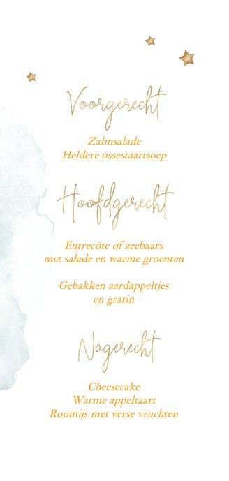 Gezellige menukaart kerst met oranje besjes Achterkant