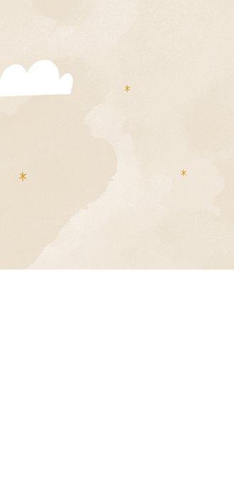 Hip geboortekaartje regenboog wolkjes maan en sterren Achterkant