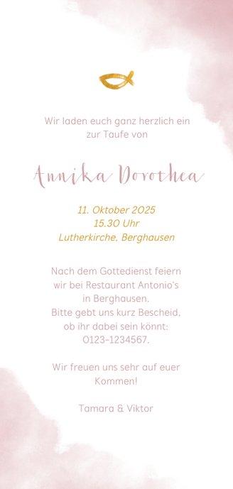 Hippe Einladung zur Taufe Foto & rosa Wasserfarbe Rückseite
