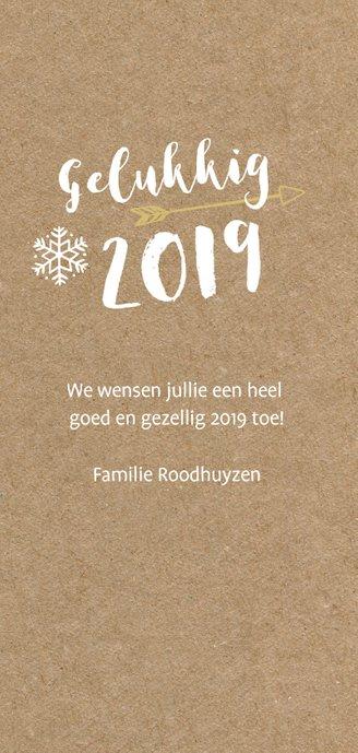Hippe langwerpige nieuwjaarskaart met grote foto en 2019 3