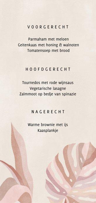 Hippe menukaart botanische bladeren neutrale kleuren Achterkant