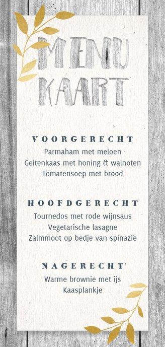 Hippe menukaart met hout, papier, gouden takjes en foto Achterkant