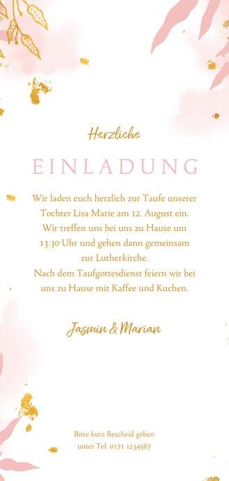 Hippe Taufeinladung rosa botanisch mit Foto Rückseite
