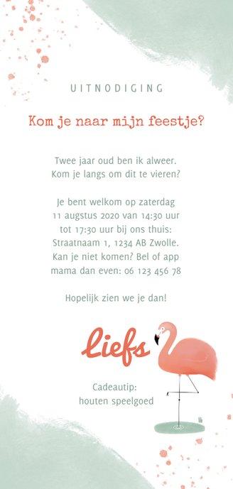 Hippe uitnodiging flamingo waterverf meisje 2e verjaardag Achterkant