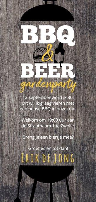 Hippe Uitnodiging Houtlook BBQ & BEER feest Achterkant