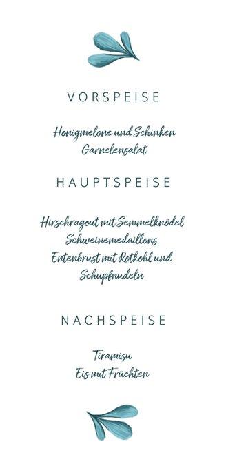Hochzeits-Menükarte gemalte Zweige 3