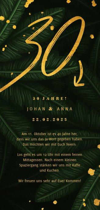 Jubiläumskarte 30. Hochzeitstag botanisch mit Foto Rückseite