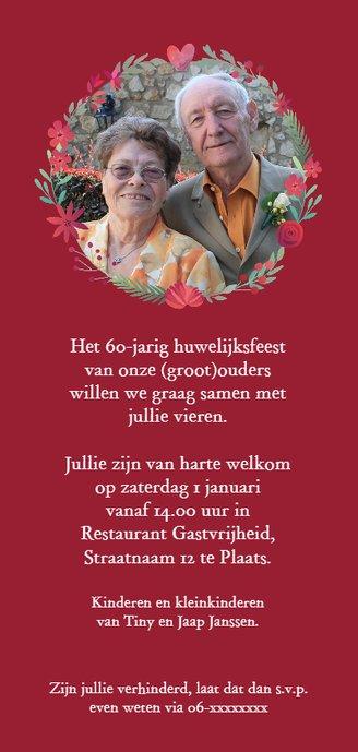 Jubileum 60 jaar getrouwd met bloemencirkel Achterkant