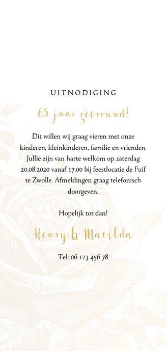 Jubileumkaart gouden rozen met  jaartal Achterkant