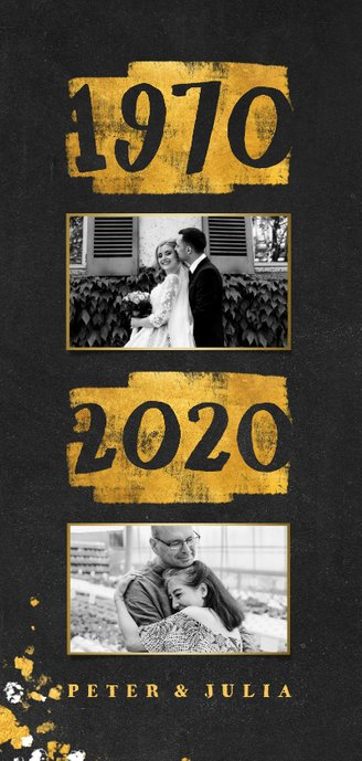 Jubileumkaart goudlook 1970/2020 met foto 2