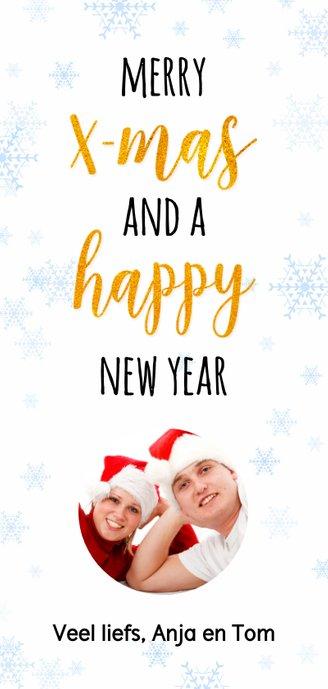 Kerst en Nieuwjaar let it snow met foto Achterkant