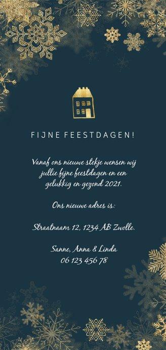 Kerst-verhuiskaart met gouden accenten en foto's Achterkant